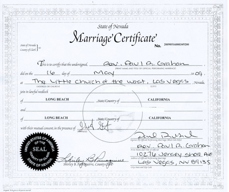 Le Marriage Certificate