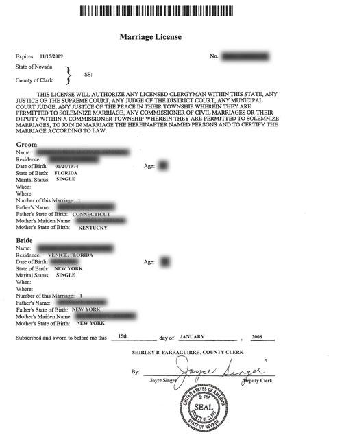 acheter une copie certifie de cette license cot 7 qui sera joindre dans le dossier pour le consulat de los angeles aprs le mariage - Mariage Las Vegas Tout Compris