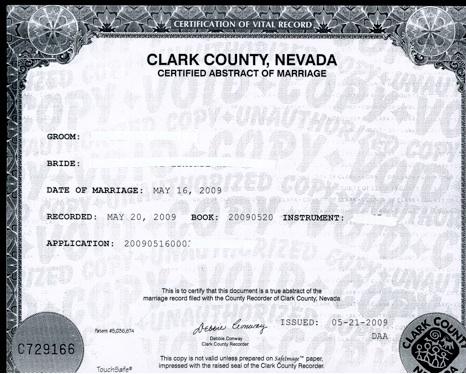Faire enregistrer le mariage par les autorités administratives locales du  Comté de Clark