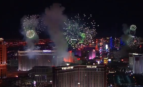 feu d'artifice Las Vegas Nouvel an 2015
