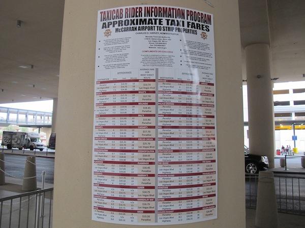 affiche prix taxis Las Vegas