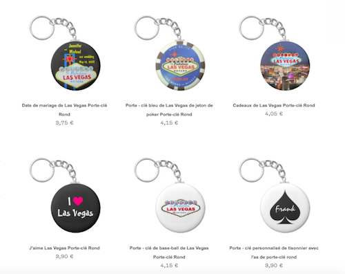 portes clés Las Vegas Zazzle
